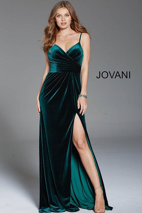 Green Spaghetti Straps V Neck Velvet Dress 60777