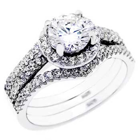 Sterling Silver 6mm Round Cubic Zirconia Ring