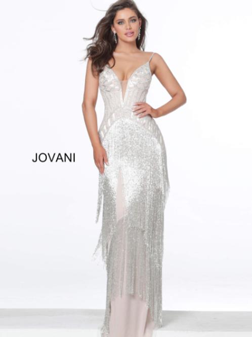 Jovani 8101 Silver Nude Fringe Plunging Neck Dress