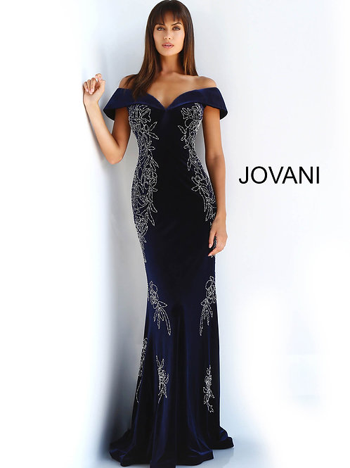Navy Cap Sleeve Beaded Evening Dress 62045