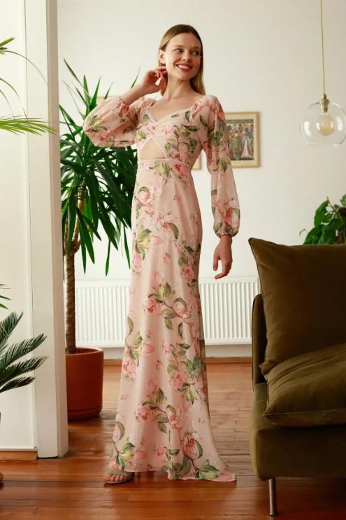 V-Neck Long Sleeve Sheath Dress