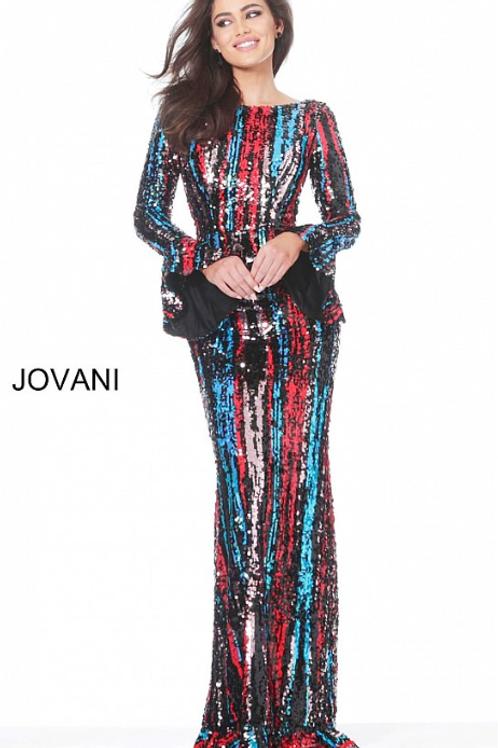 Jovani 3247 Multi Long Bell Sleeve Sequin Evening Dress