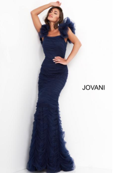 Jovani 02084 Mint Ruched Form Fitting Evening Dress