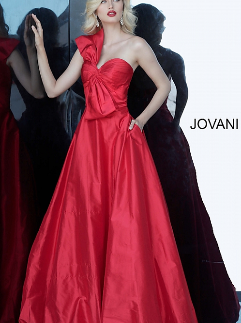 Jovani Red Strapless Pleated Bodice Evening Ballgown