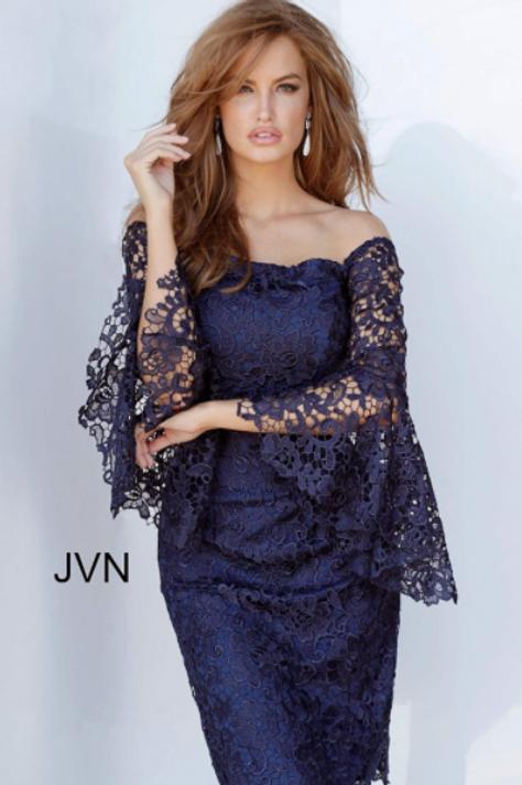 JVN68076 Navy Off the Shoulder Cocktail Dress