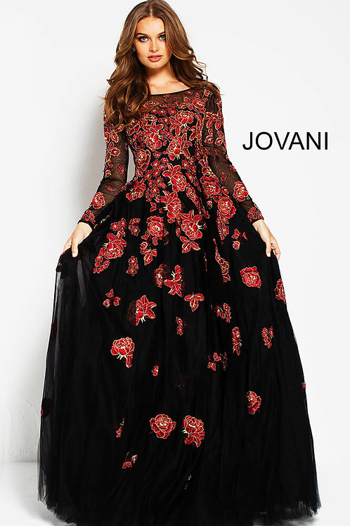 Black Red Floral Embroidered Long Sleeves Evening Gown 53088