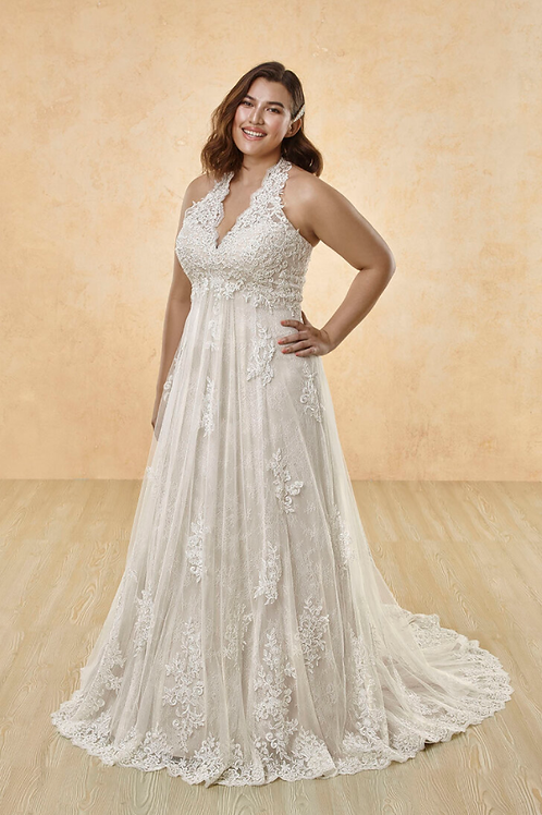 Mignon Manley Halter Embellished Lace CURVY Bridal Gown