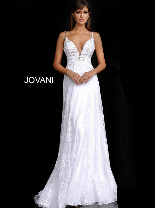 Off White Plunging Neckline Embroidered Wedding Dress JB65931