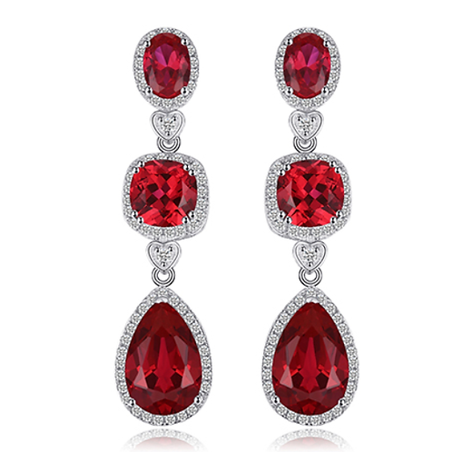 7ct 3 Stone Created Red Ruby Dangle Earrings Solid 925 Sterling Silver