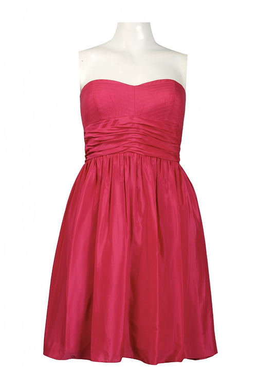 Jessica Simpson Strapless Ruched Waist Satin Chiffon Flare Dress