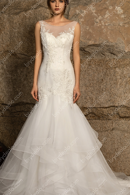 Beaded Lace Tulle Ruffled Mermaid Wedding Gown