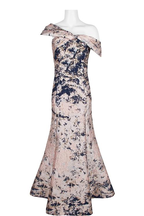 Aidan Mattox One Shoulder Trumpet Multi Print Jacquard Dress