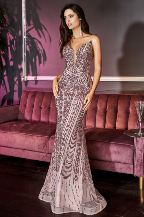 Fitted Geometric Sequin Pattern Gown