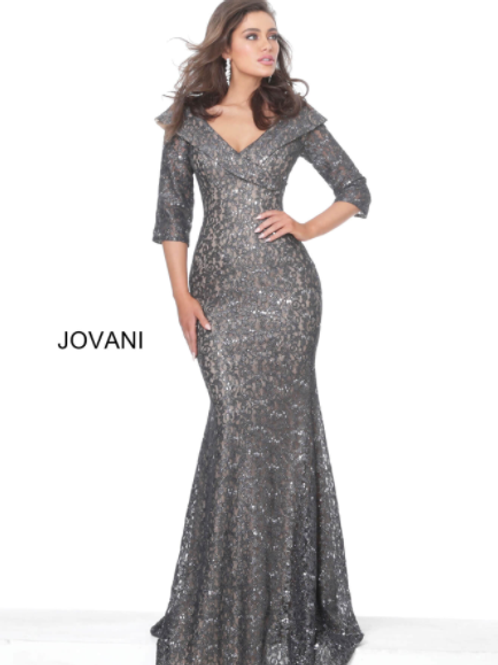 Jovani 03426 Grey Three Quarter Sleeve Lace Evening Dress