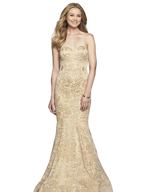 Vivacious Strapless Embroidered Mermaid Gown