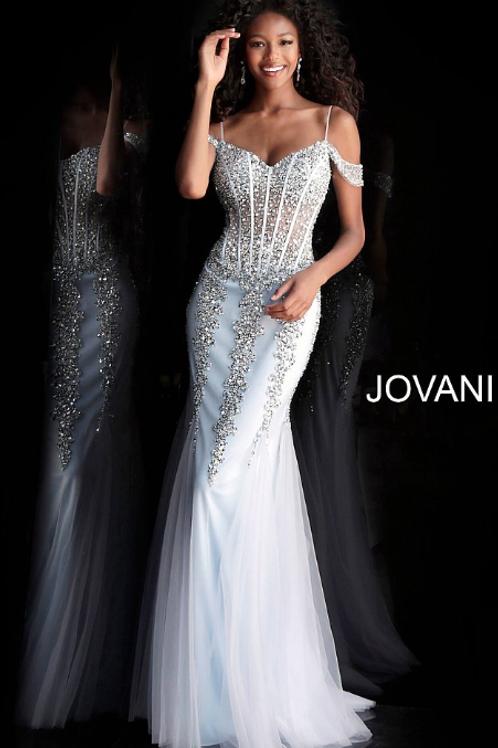 Cloud Blue Embellished Off the Shoulder Prom Dress 51115