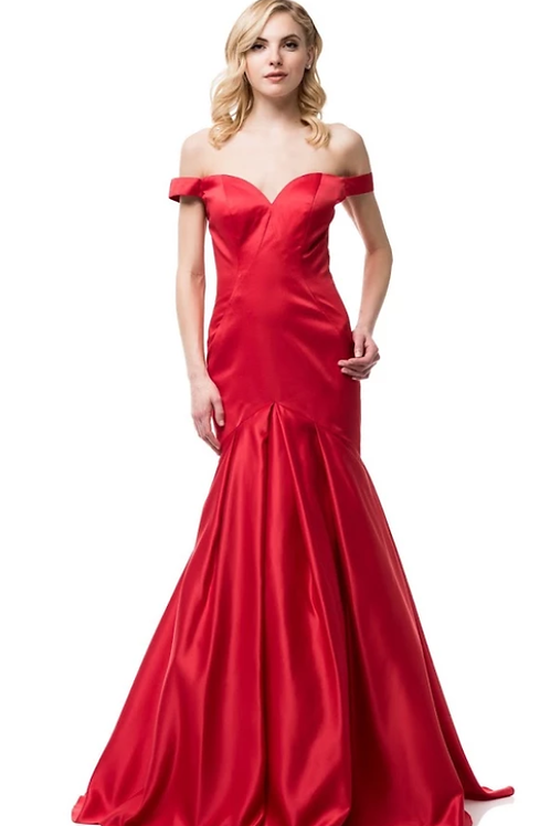 Red Satin Crepe Sweetheart Neck Mermaid Gown
