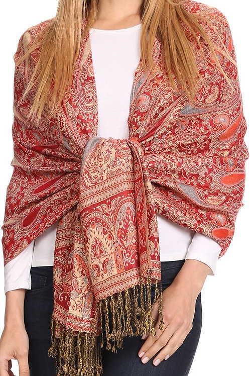 Long Wide Woven Patterned Fringe Tassel Pashmina Shawl / Scarf •