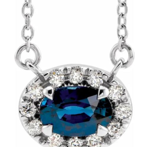 "14K White 6x4 mm Oval Blue Sapphire & 1/10 CTW Diamond 18"" Necklace"