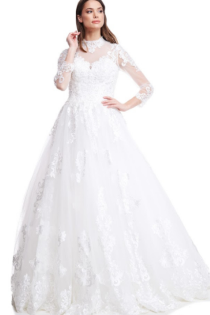 Mignon Manley White Embroidered Gown with Crystal Embellishments GPW118