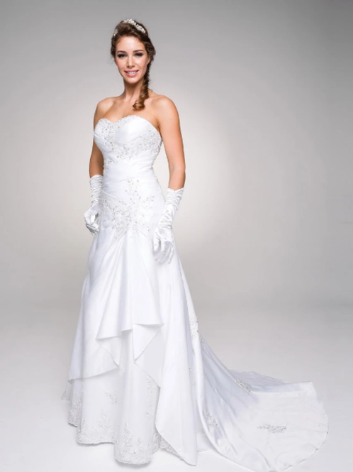 Sweetheart Neckline Long Wedding Dress with Gloves