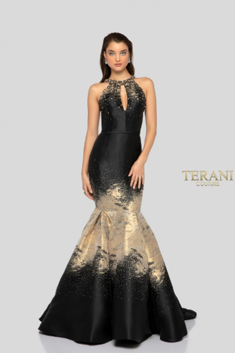 Terani Couture Stunning Satin Mermaid Gown