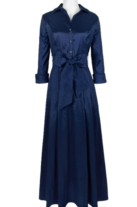 Emma Street Collared Long Sleeve Solid Taffeta Dress