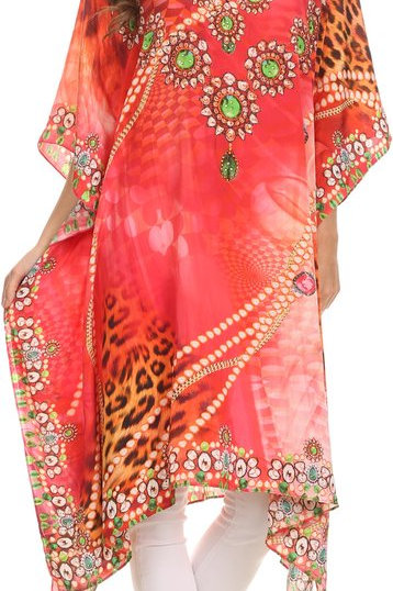 igthweight Summer Printed Short Caftan Dress / Cover Up