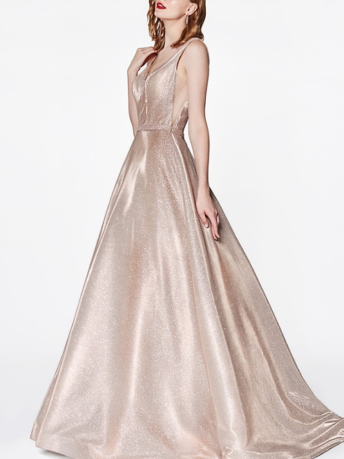 Glitter Deep Plunge Neckline and Illusion Sides Gown