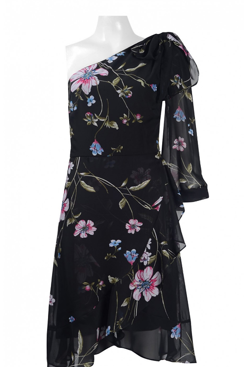 Sangria One Shoulder Ruffled Floral Print Chiffon Dress