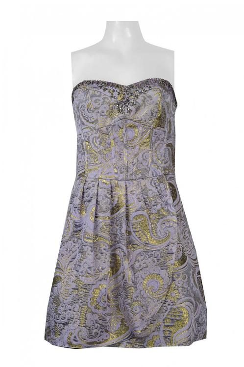 Decode Strapless Pleated Crossed Tie Back Embellished Metallic Jacquard Dress