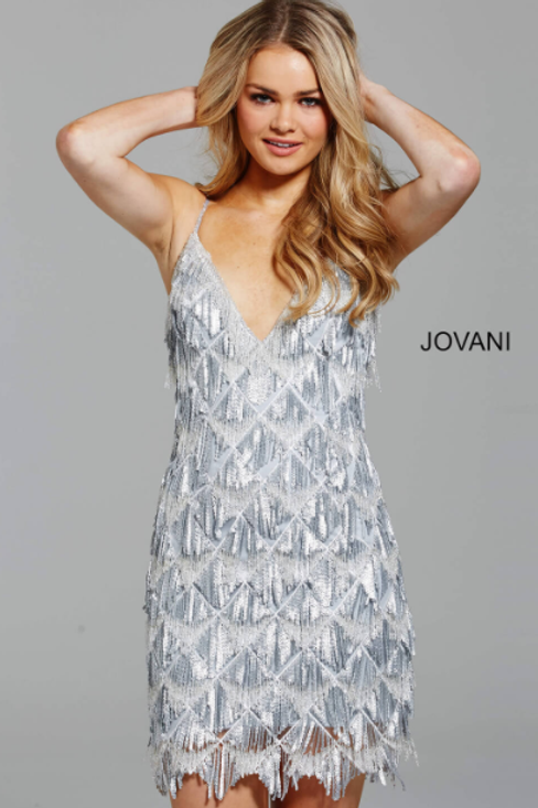 JOVANI Spaghetti Straps Fitted Silver Beaded Cocktail Dress 62999