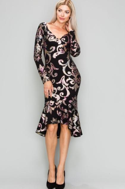 V-neck Metallic Print Long Sleeve Midi Dress