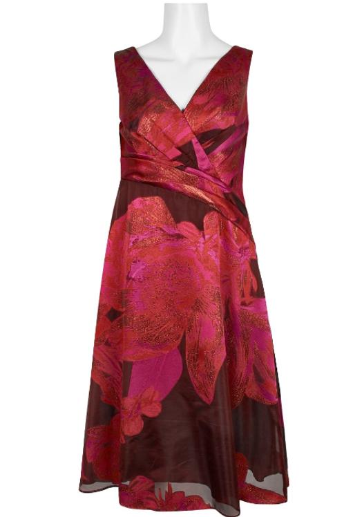 Adrianna Papell V-Neck Sleeveless Organza Jacquard Dress