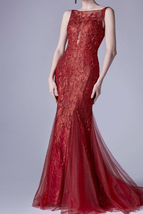 Elegant Bateau Neckline Lace Fit & Flair Gown