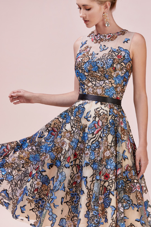 Multi-Colored Embroidered Tea Length Cocktail Dress
