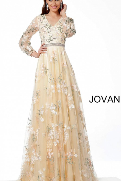 Jovani 65637 Beige Embroidered Long Sleeve Maxi Evening Dress
