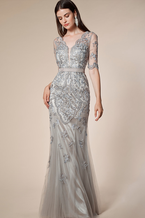 Andre & Leo Lace Beaded Flair Gown