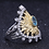 Thumbnail: Natural Swiss Blue Topaz 925 Sterling Silver Gold Pated Sunflower