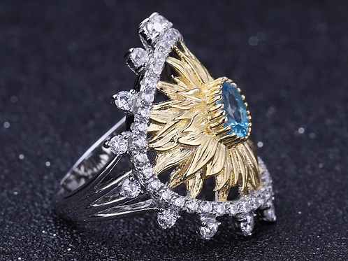 Natural Swiss Blue Topaz 925 Sterling Silver Gold Pated Sunflower