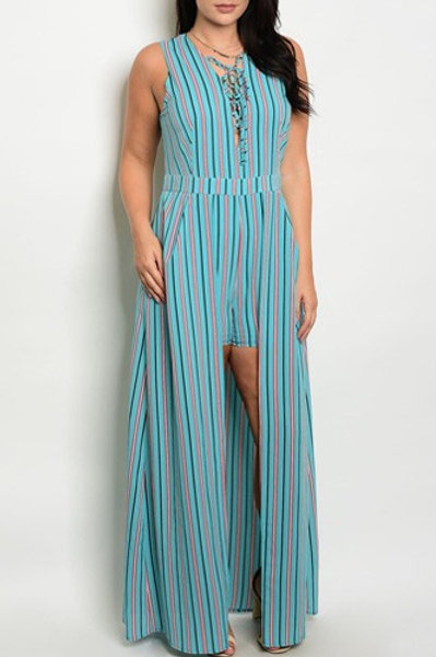 Plus size fashion allover striped, hi-low romper, with a lace up