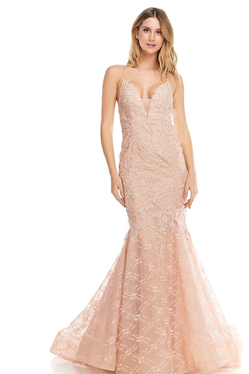 Halter Neck Backless Mermaid Embroidered Lace Gown