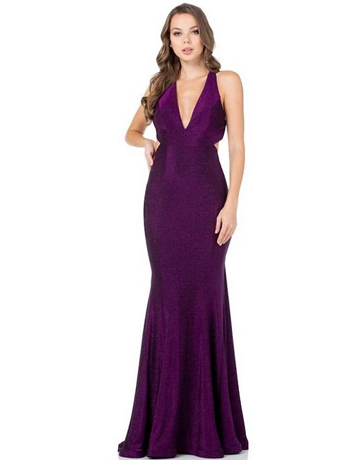 V-Neck Backless Sheath Stretch Glitter Fabric Dress