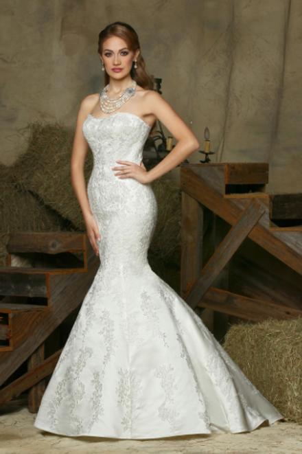 Da Vinci Stunning Satin Beaded Bridal Gown