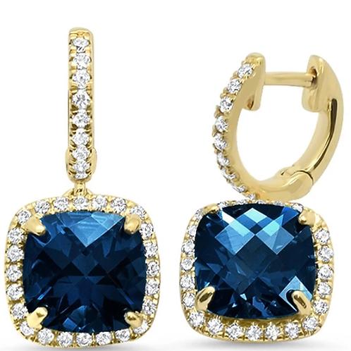 Mignon Manley 5.58ct Yellow Gold Cushion Blue Topaz & Diamond Earrings