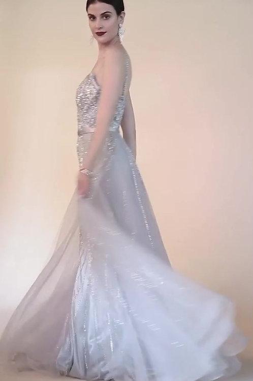 Stunningly Elegant Flowing Crystals Embellished Designer Gown