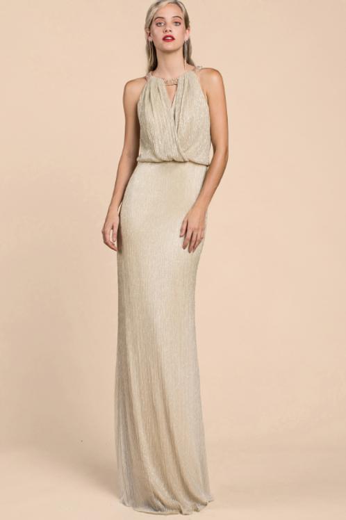 Grecian Metallic Sheath Dress