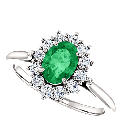 Genuine Emerald Platinum Oval 3/8 CTW Diamond Semi-Set Ring
