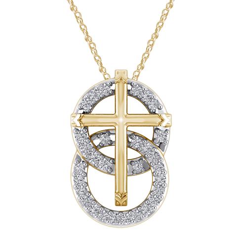 Mignon Manley Design Sterling Silver Circles Cross Pendant With 0.24ct Diamonds