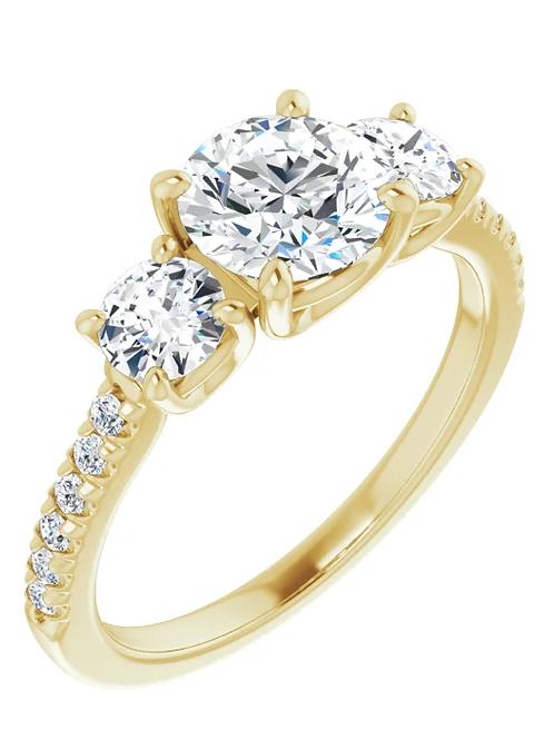 1 3/4 CTW 14K Yellow 6.5 mm Round Engagement Ring